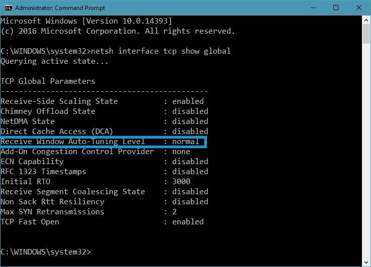 auto-tuning enabled windows 10