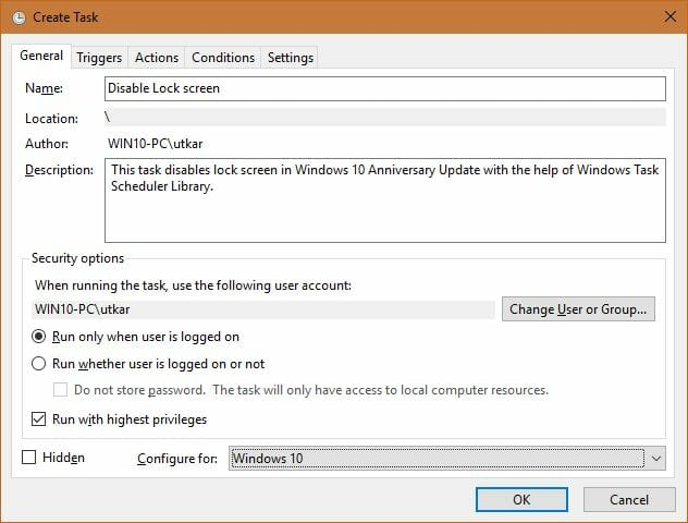 How to disable lock screen in Windows 10 Build 1067 - Error