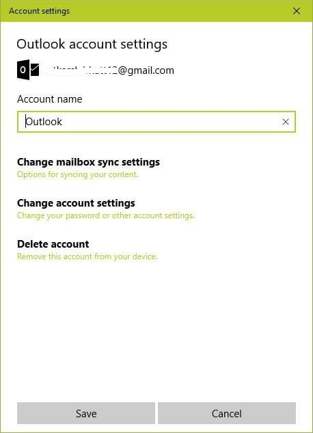email account settings windows 10 au