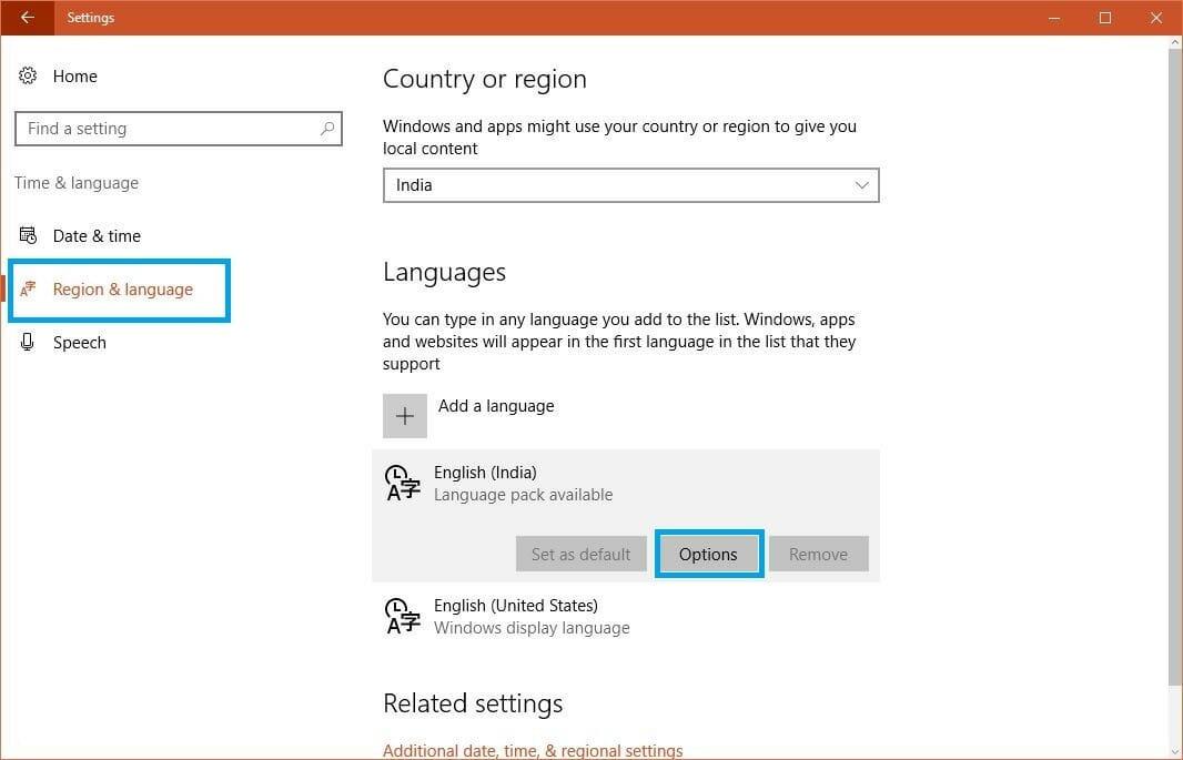 windows 10 home language pack english