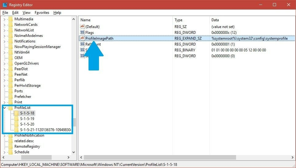 hkey local machine software microsoft windows nt currentversion profilelist