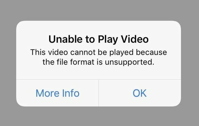iPhone Unable to Play Video File Format Not Supported Error