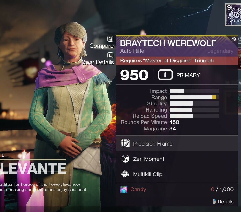Destiny 2 How To Get Braytech Werewolf Auto Rifle Festival Of The Lost